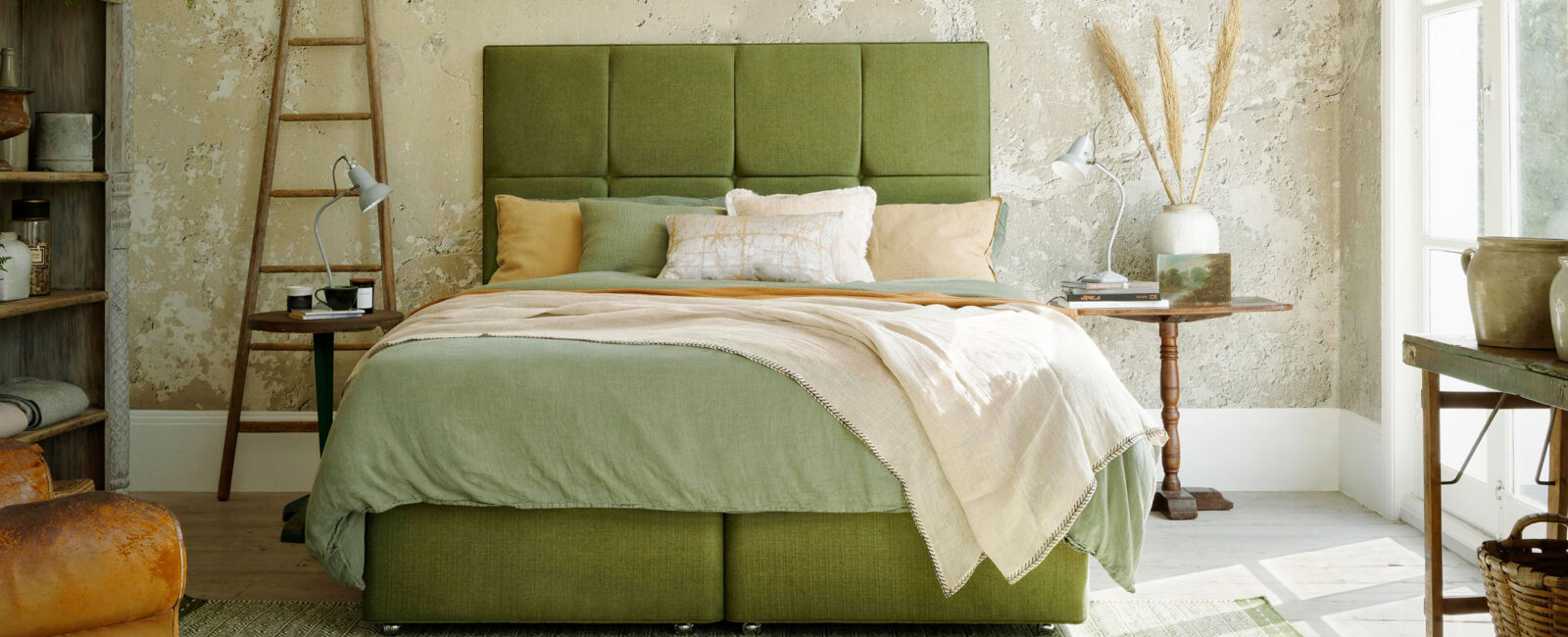 Hypnos divan bed and headboard green